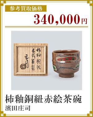 柿釉銅紐赤絵茶碗